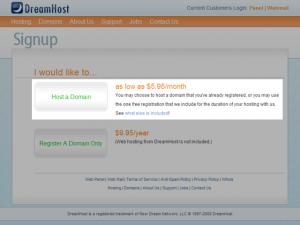 画像: サービスの選択 - DreamHostの申し込み・契約方法