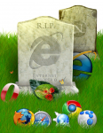 画像: 故・第6代目Internet Explorer IE6氏の遺影と彼の友人たち。そして、喪主を務めた彼の息子、第7代目Internet Explorer IE7氏。