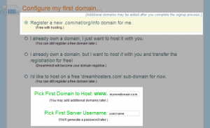 画像: ドメイン・ユーザー名の入力 - DreamHostの申し込み・契約方法
